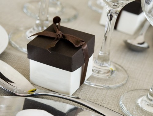 wedding party favor next to place setting