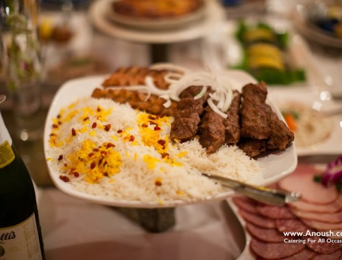 Beef and Chicken Lule and Persian Rice Anoush Catering