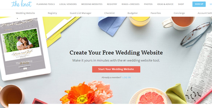 The Knot offers free site with lots of options