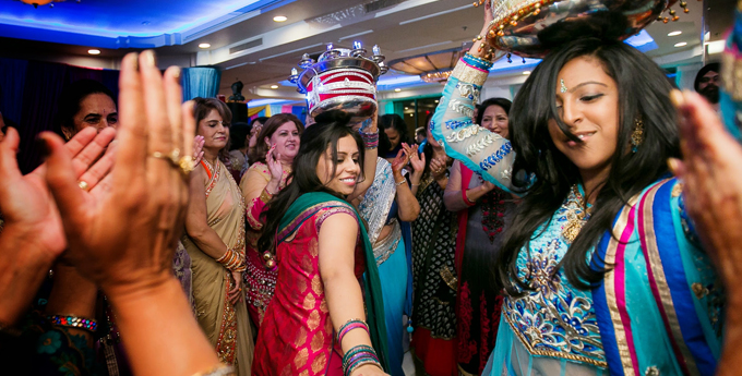 Indian wedding celebration with lots of color.